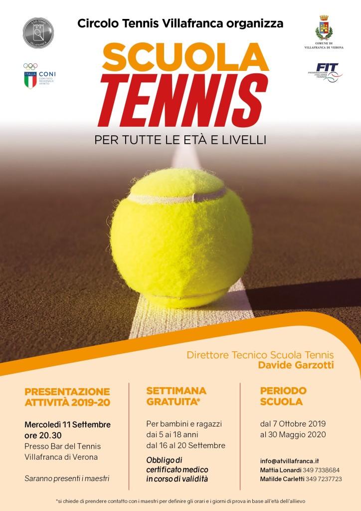 Locandina scuola tennis 2019-20